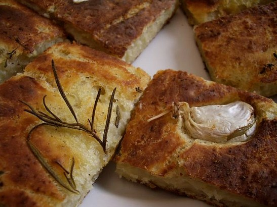 Freshly baked focaccia with garlic and rosemary. Photo courtesy of Alexander Von Halem.