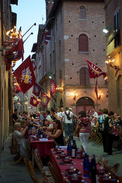 Celebration after the Palio in the streets of Siena